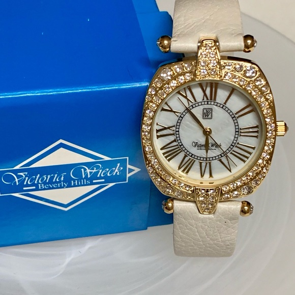 Victoria Wieck Accessories - VICTORIA WIECK GOLDTONE W/CREAM LEATHER WATCH BAND